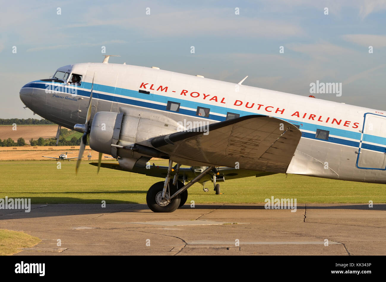 Douglas C-47A Skytrain, KLM Livery, Duxford, UK. The C-47 was the military designation for the DC-3 Dakota. - Stock Image