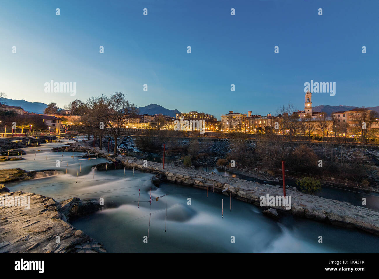 IMG_3347 Blue Hour in Ivrea Piemonte Italy canoe Stadium The Dora Baltea river in Ivrea in Canavese province of - Stock Image