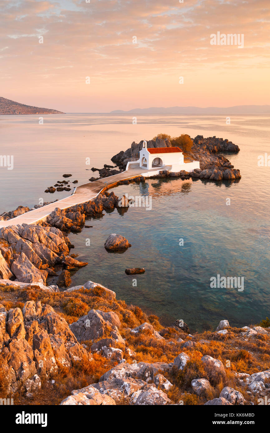 Agios Isidoros church in northern Chios at sunrise. - Stock Image