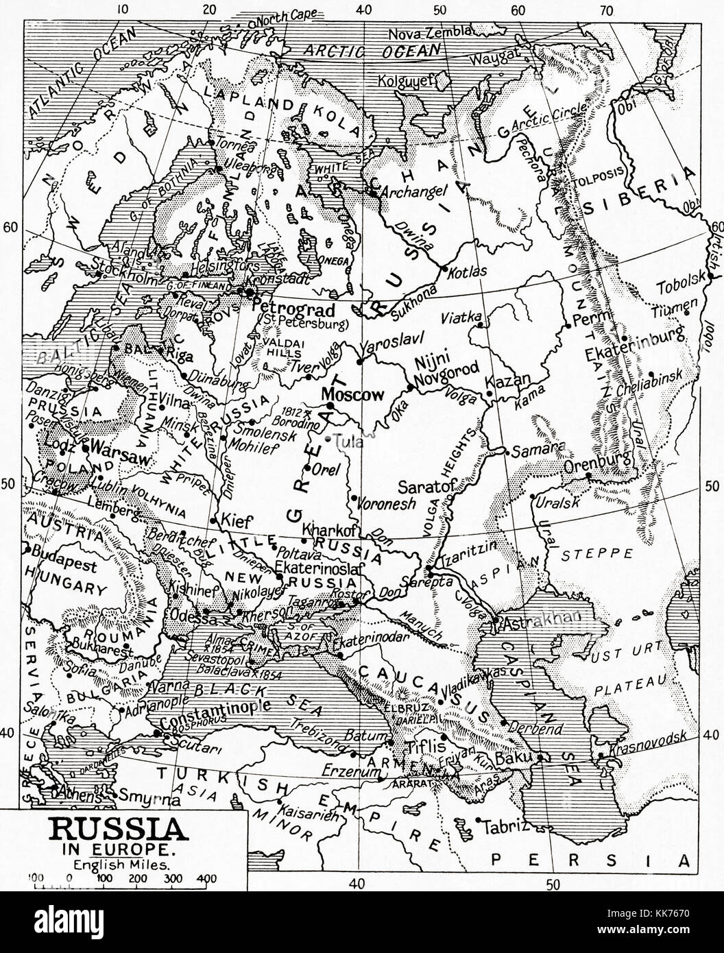 Map of Russia in 1915.  From Hutchinson's History of the Nations, published 1915. - Stock Image
