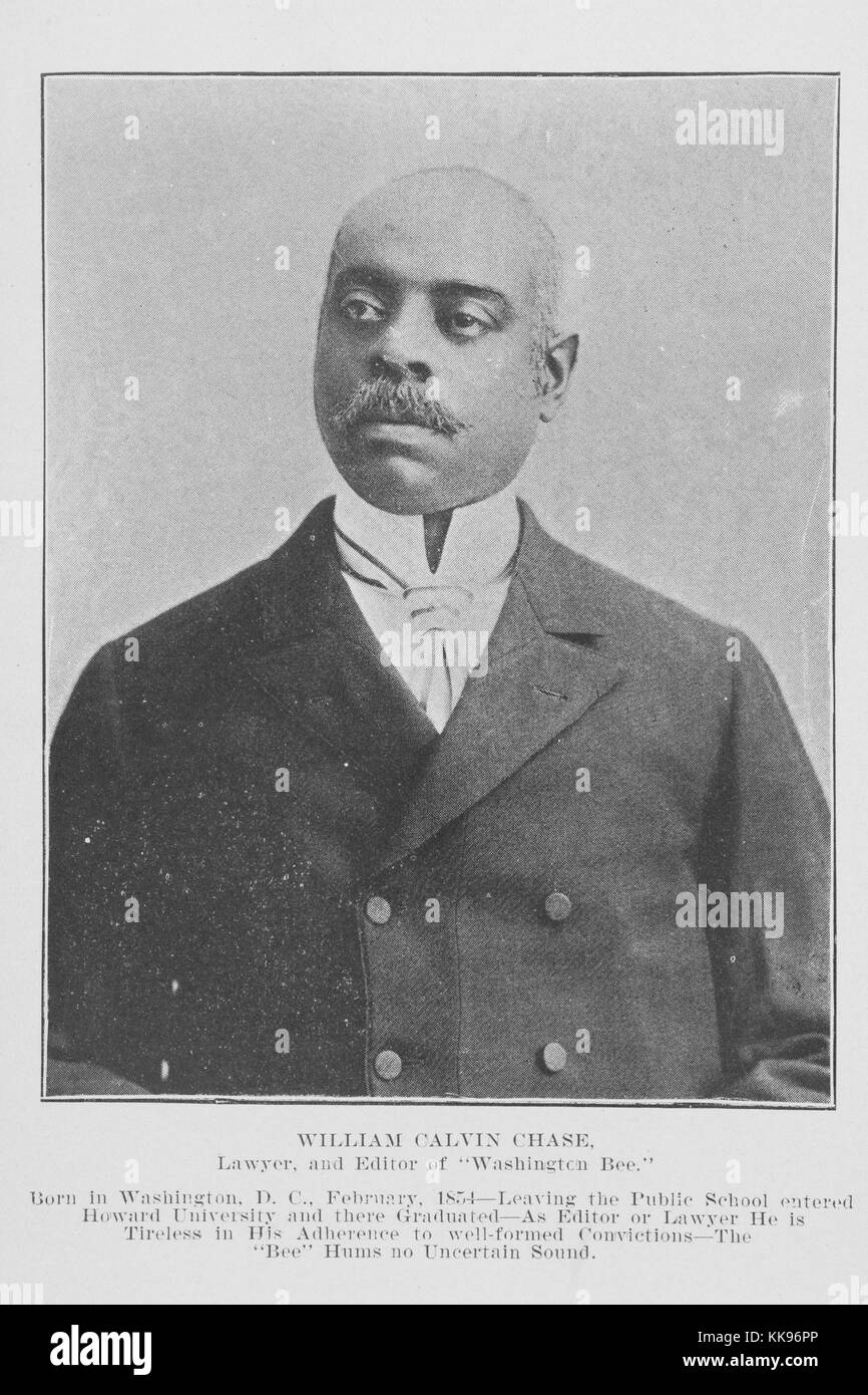 Black and white photograph, portrait, of William Calvin Chase, an African-American lawyer and newspaper editor, Stock Photo