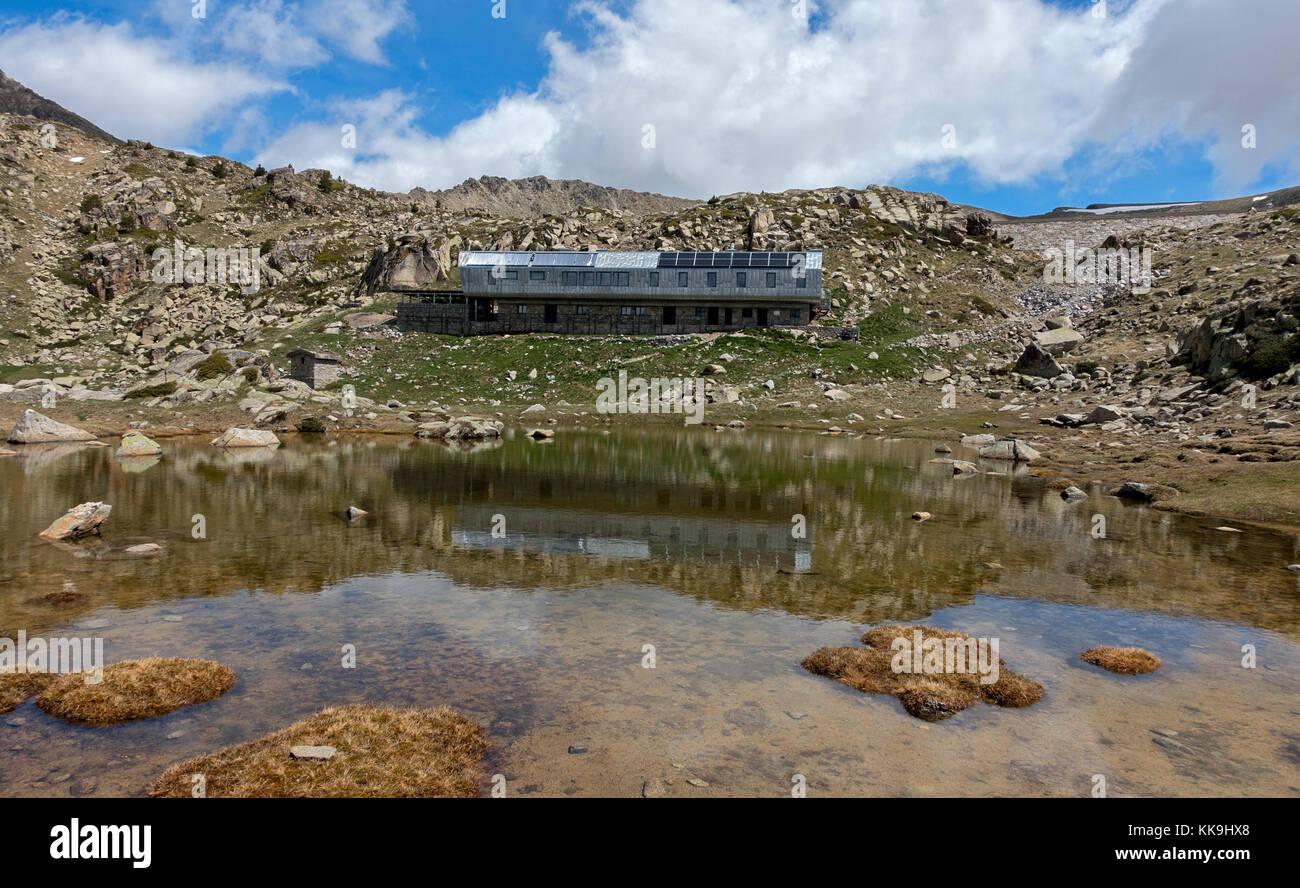 Illa mountain shelter (2488m).Pyrenees.Andorra - Stock Image