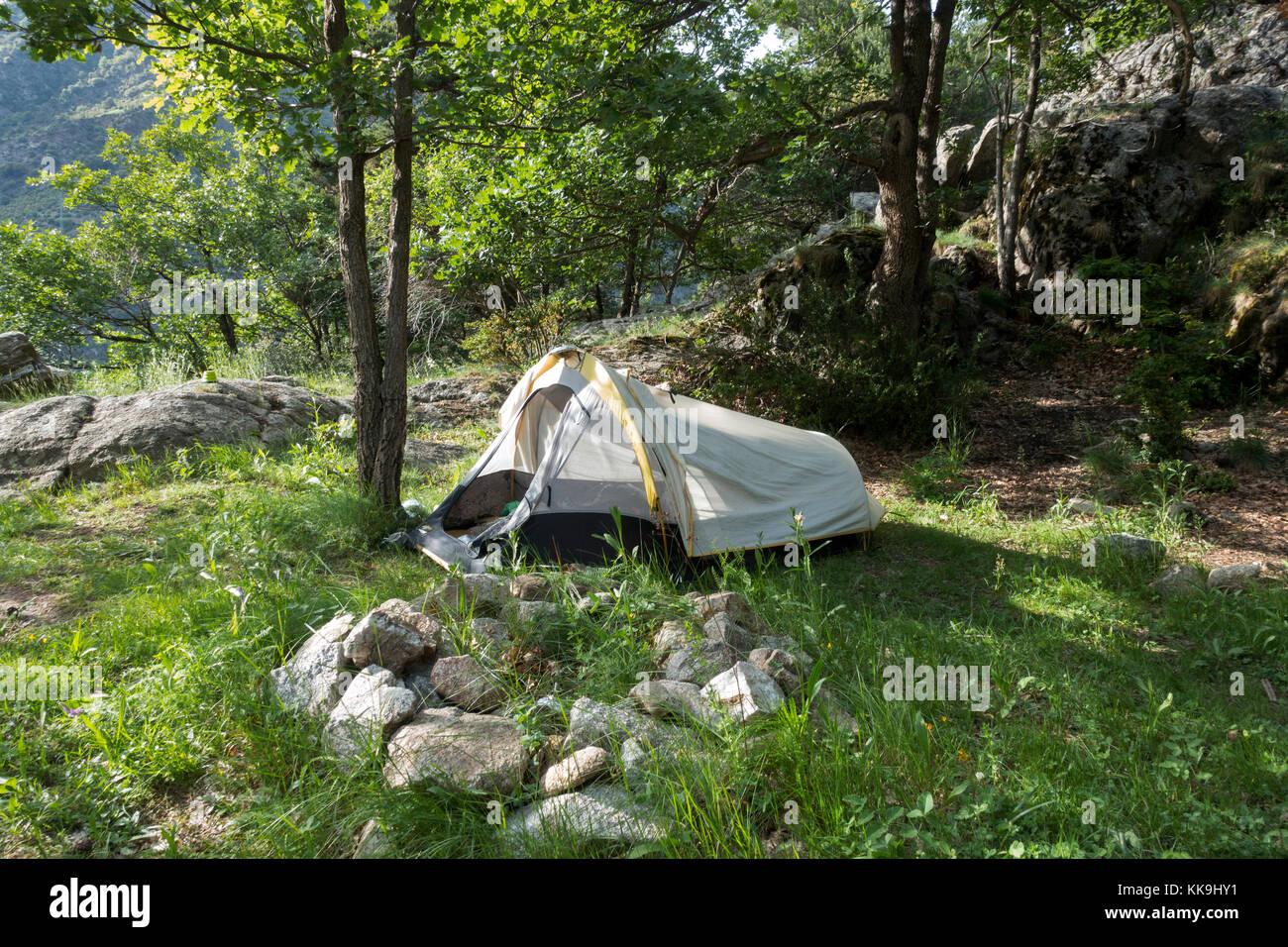 Wildreness camping.Pyrenees.Andorra - Stock Image
