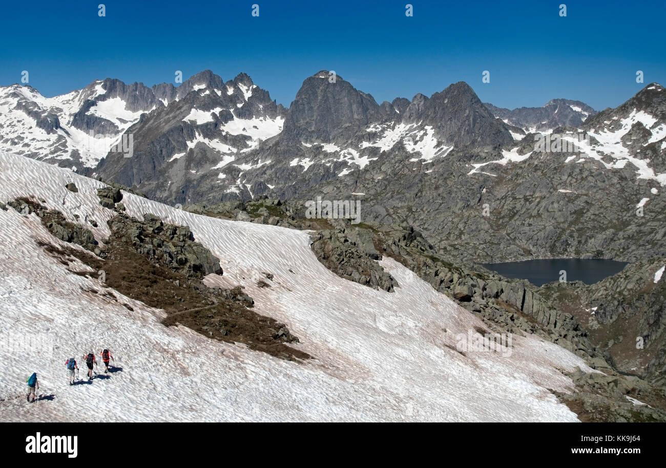 Trekking in Aiguestortes National Park.Pyrenees.Catalonia.Spain - Stock Image