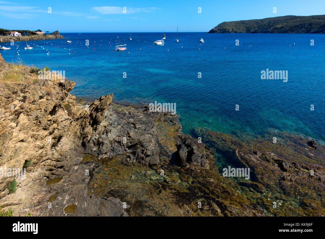Boats anchored at Cadaques Bay.Gerona.Catalonia.Spain - Stock Image
