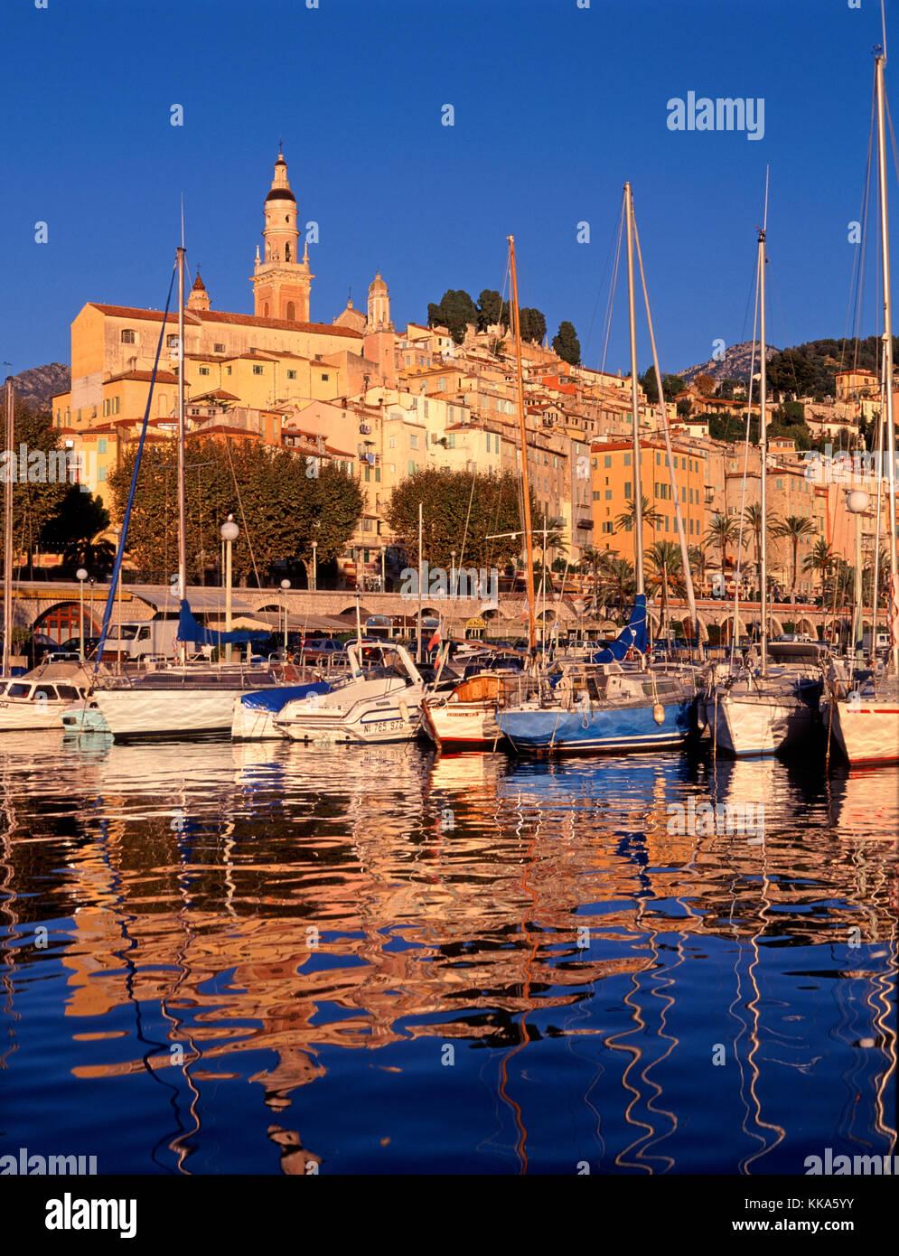 Menton marina, Cote d'Azur,Alpes Maritimes, French Riviera, France - Stock Image