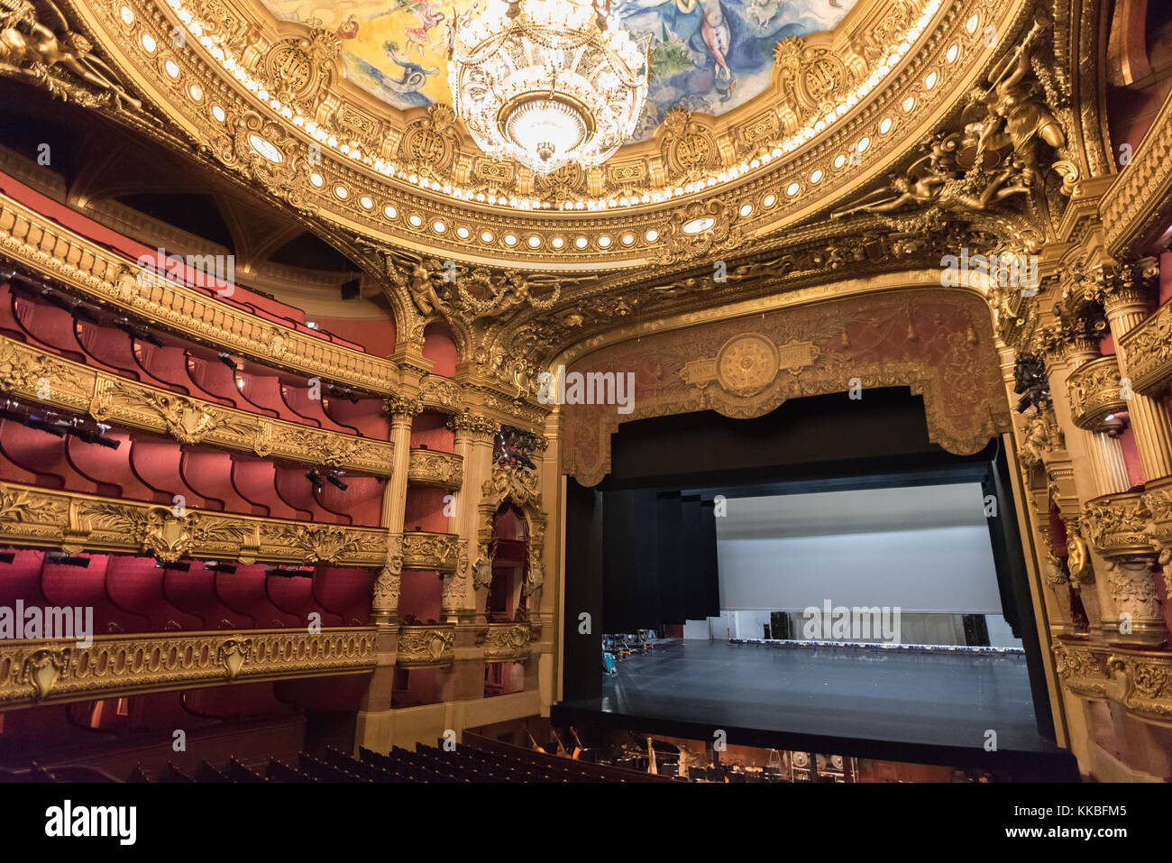 Interior of the auditorium of the Palais Garnier, Paris - Stock Image