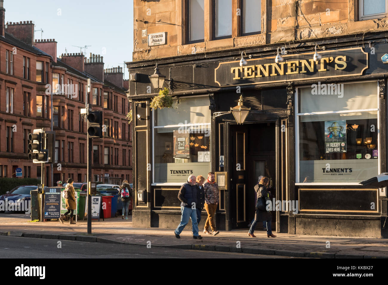 Tennent's Bar Pub, Byres Road, Glasgow, Scotland, UK - Stock Image