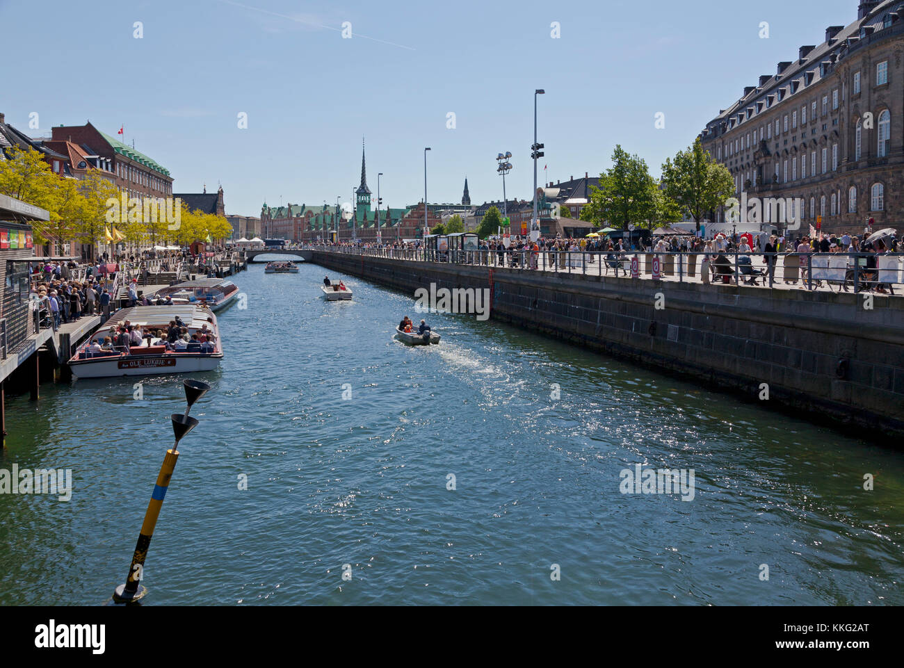 View along Slotsholmskanal in Copenhagen. Denmark. One of the canals encircling the area of Christiansborg Castle - Stock Image