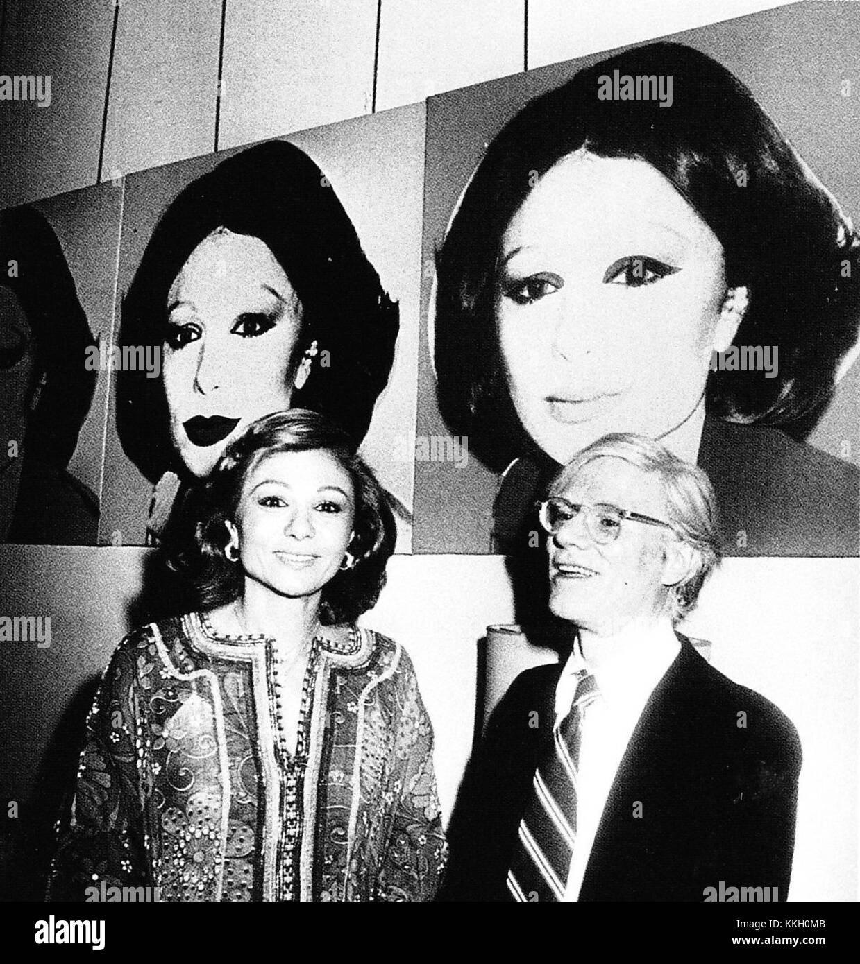 Farah Pahlavi and Andy Warhol in Tehran Museum of Contemporary Art, 1977Stock Photo