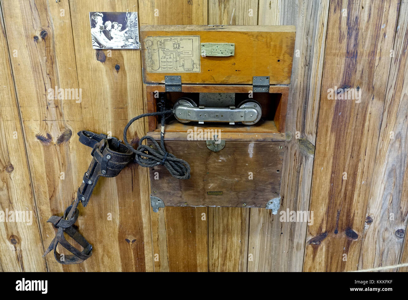 Field telephone, Western Electric 330 E, circa 1903 - Northeast States Civilian Conservation Corps Museum - Shenipsit - Stock Image