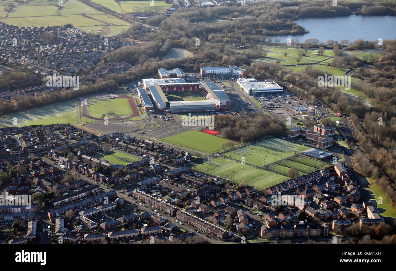 aerial view of Leigh Sports Village, Leigh WN7 4JY - Stock Image