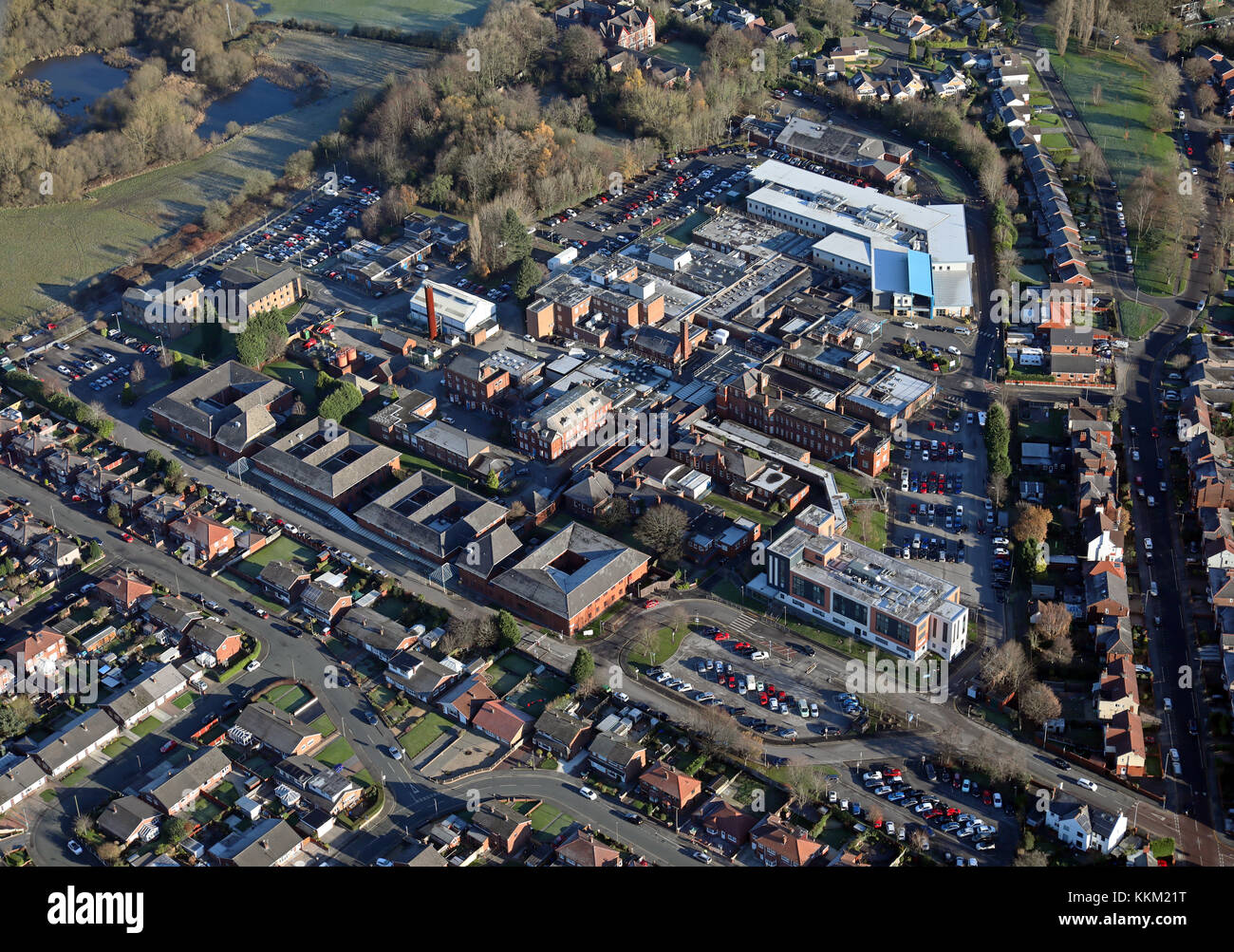 aerial view of Leigh Infirmary, NHS Hospital, Lancashire, UK - Stock Image