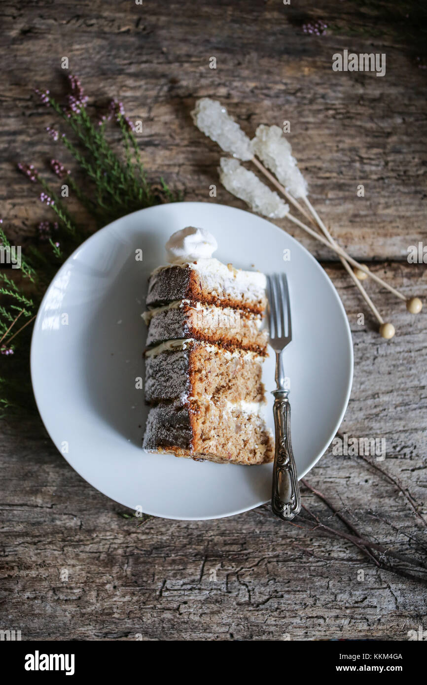 Hummingbird cake winter edition with dates and candied ginger. - Stock Image