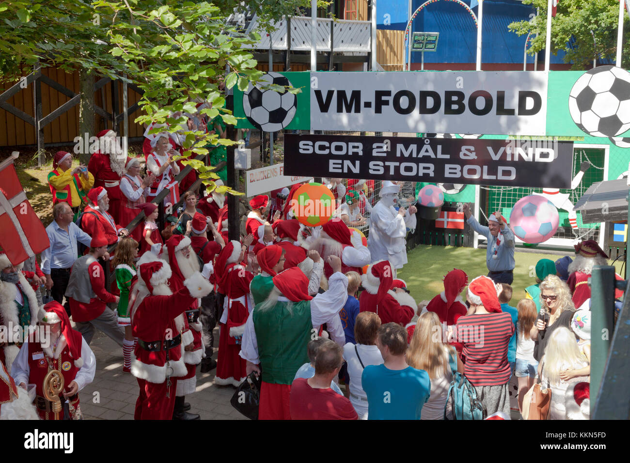 Football competition between Santas at the Santa Claus World Congress in Denmark at Bakken, the amusement park in - Stock Image