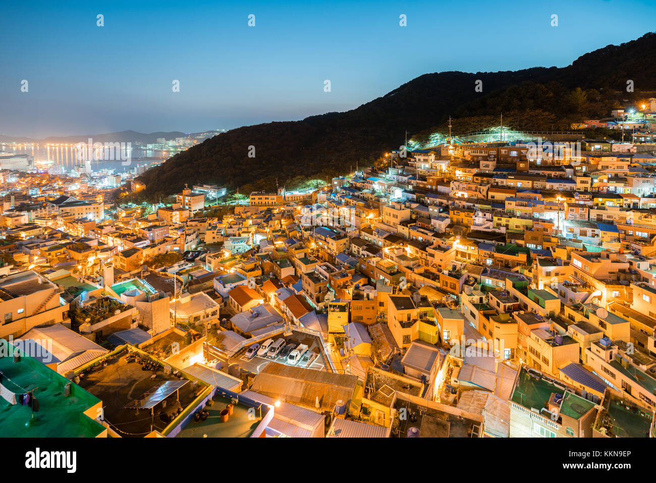 Gamcheon Culture Village at night in Busan, South Korea. - Stock Image