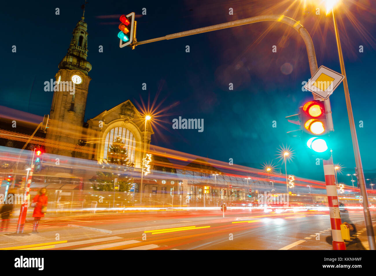 Long exposure shoot to Luxembourg City railway station at night, Luxembourg Stock Photo