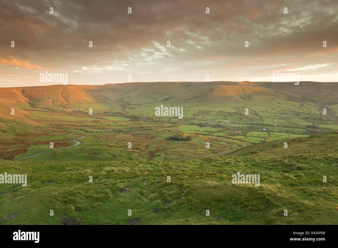 UK, Mam Tor, the view from Mam Tor towards Edale, at sunrise. - Stock Image