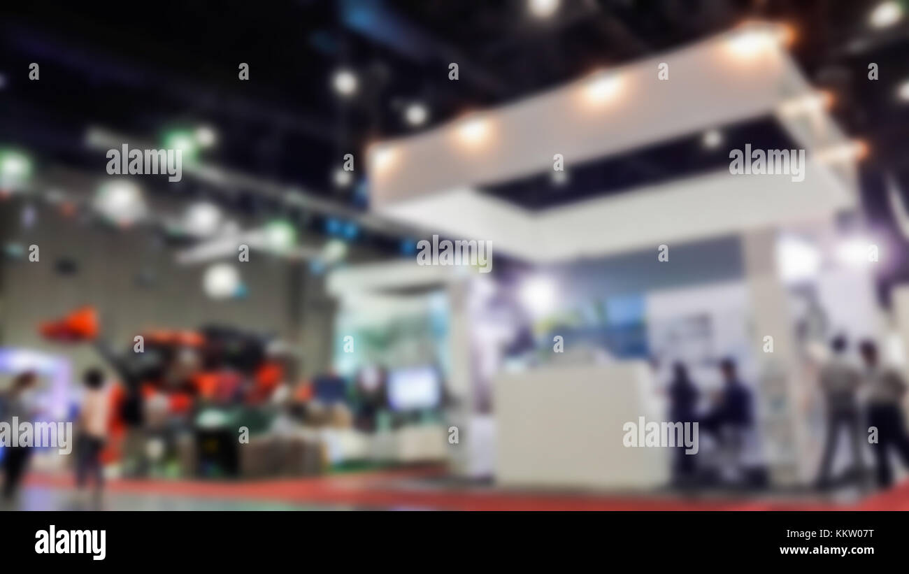 Exhibition Hall Booth : Abstract blurred public event exhibition hall with business trade