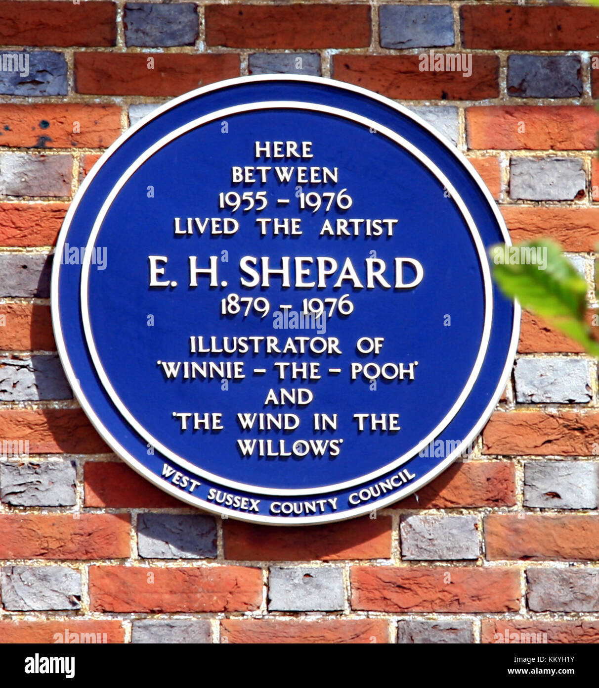 Blue plaque on the home of E H Shepard from 1955 until 1976 at Lodsworth in West Sussex  illustrator of Winnie the - Stock Image