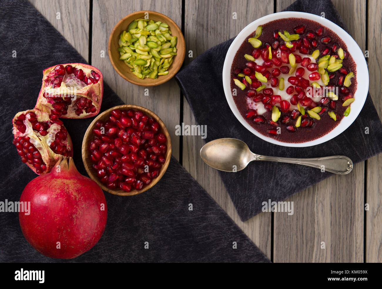 Pomegranate desert with Chia Seed, tapioca pudding and Yogurt. healthy eating. top view. - Stock Image