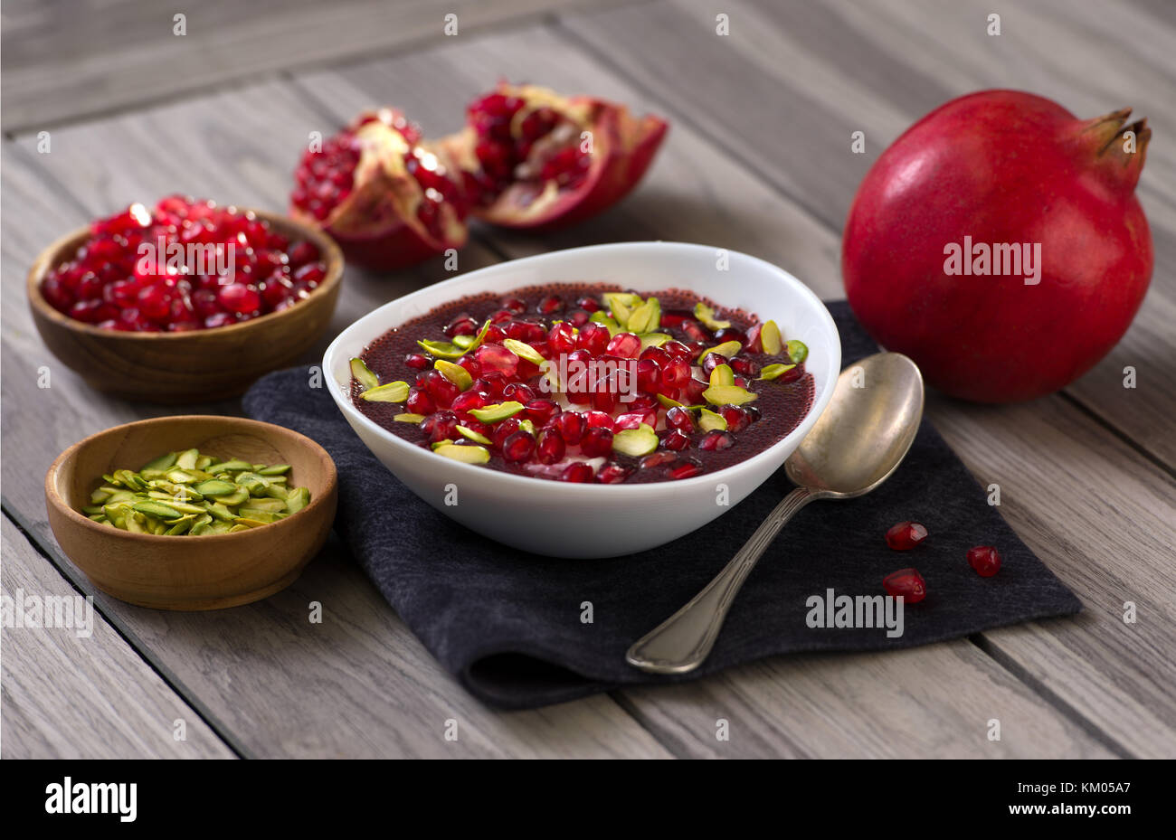 Pomegranate desert with Chia Seed, tapioca pudding and Yogurt. healthy eating. - Stock Image