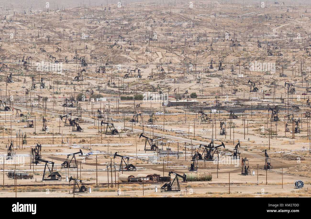 Kern River Oil Field, the most dense oilfield in the United States. Thousands of pumpjacks in the town of Bakersfield, Stock Photo