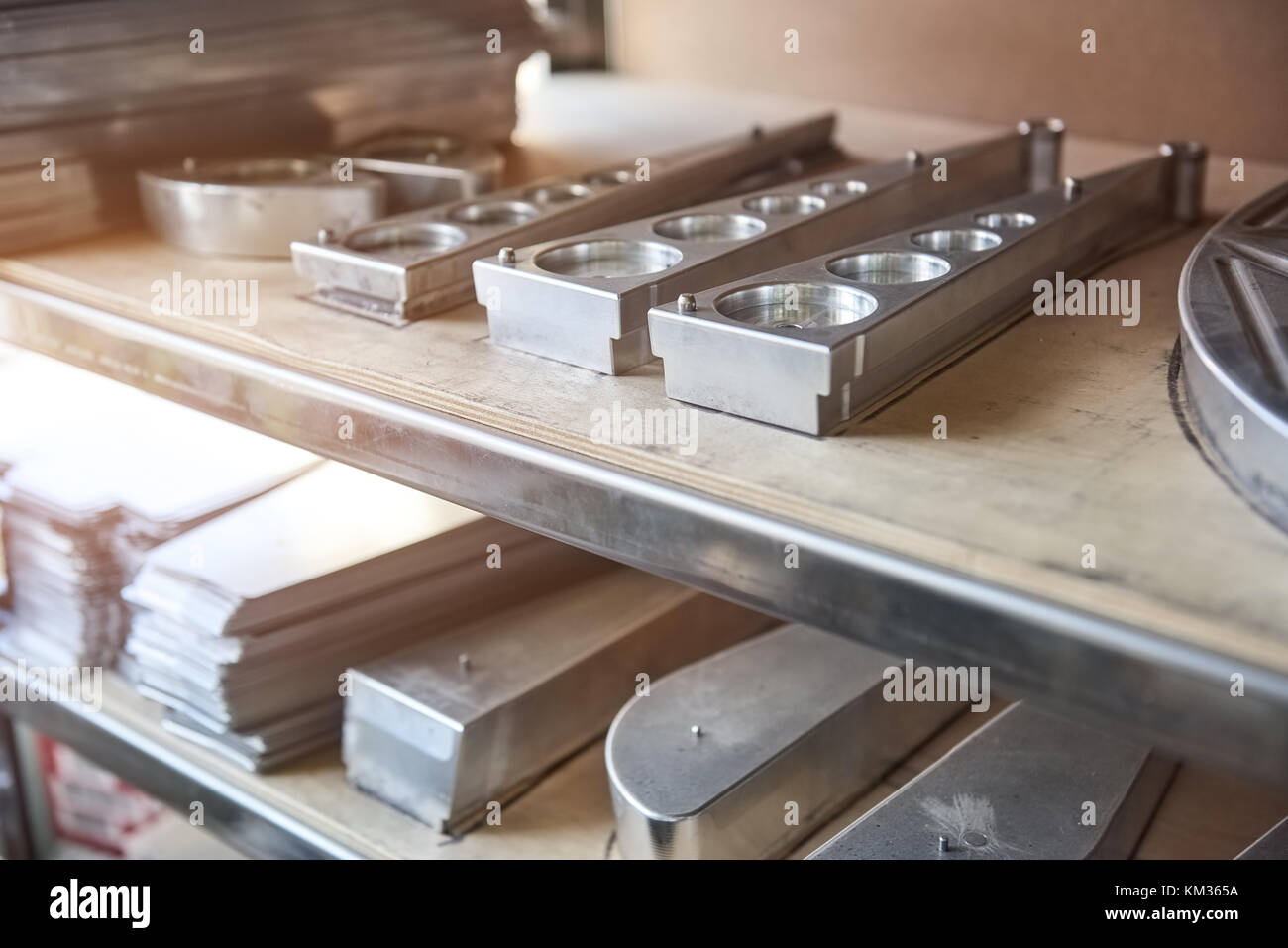 Stainless Steel Parts On Shelf Stock Photo Alamy - Stainless steel table parts