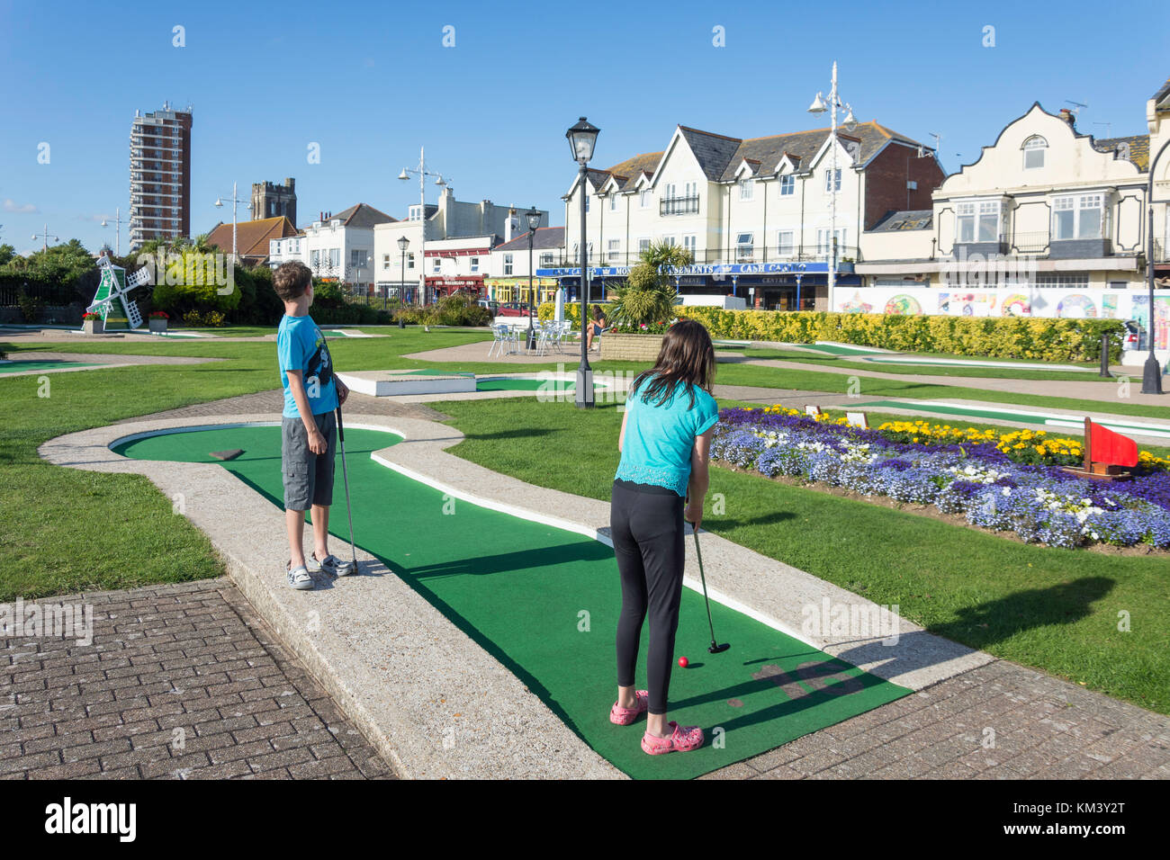Bognor Regis Crazy Golf, The Esplanade, Bognor Regis, West Sussex, England, United Kingdom - Stock Image