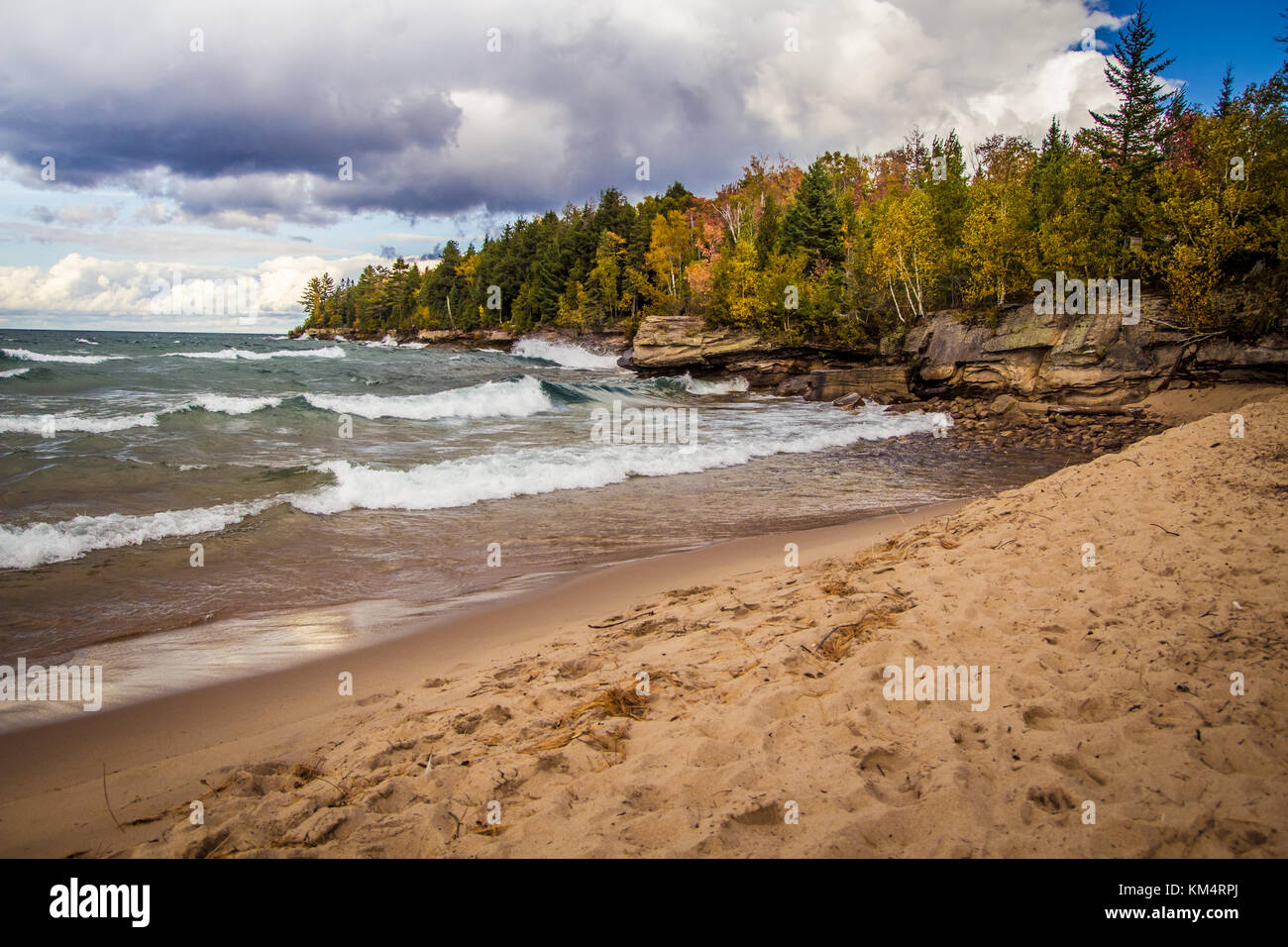 Pictured Rocks National Lakeshore. The wild and rugged coast of Lake Superior along the Pictured Rocks National Stock Photo