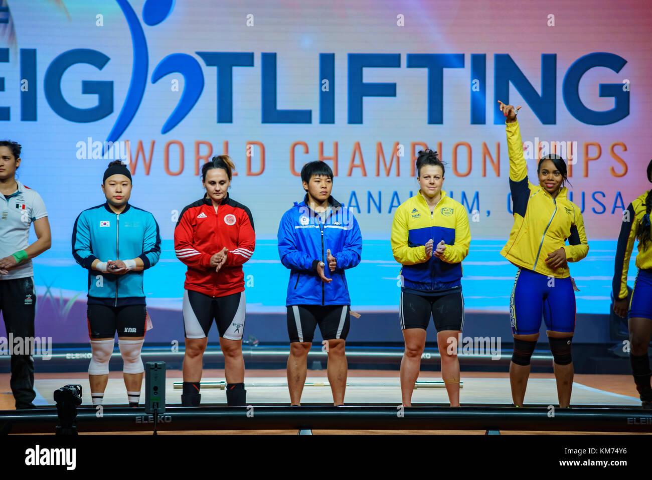 Anaheim, NOV 30: 2017 Athletes of International Weightlifting Federation World Championships on NOV 30, 2017 at - Stock Image