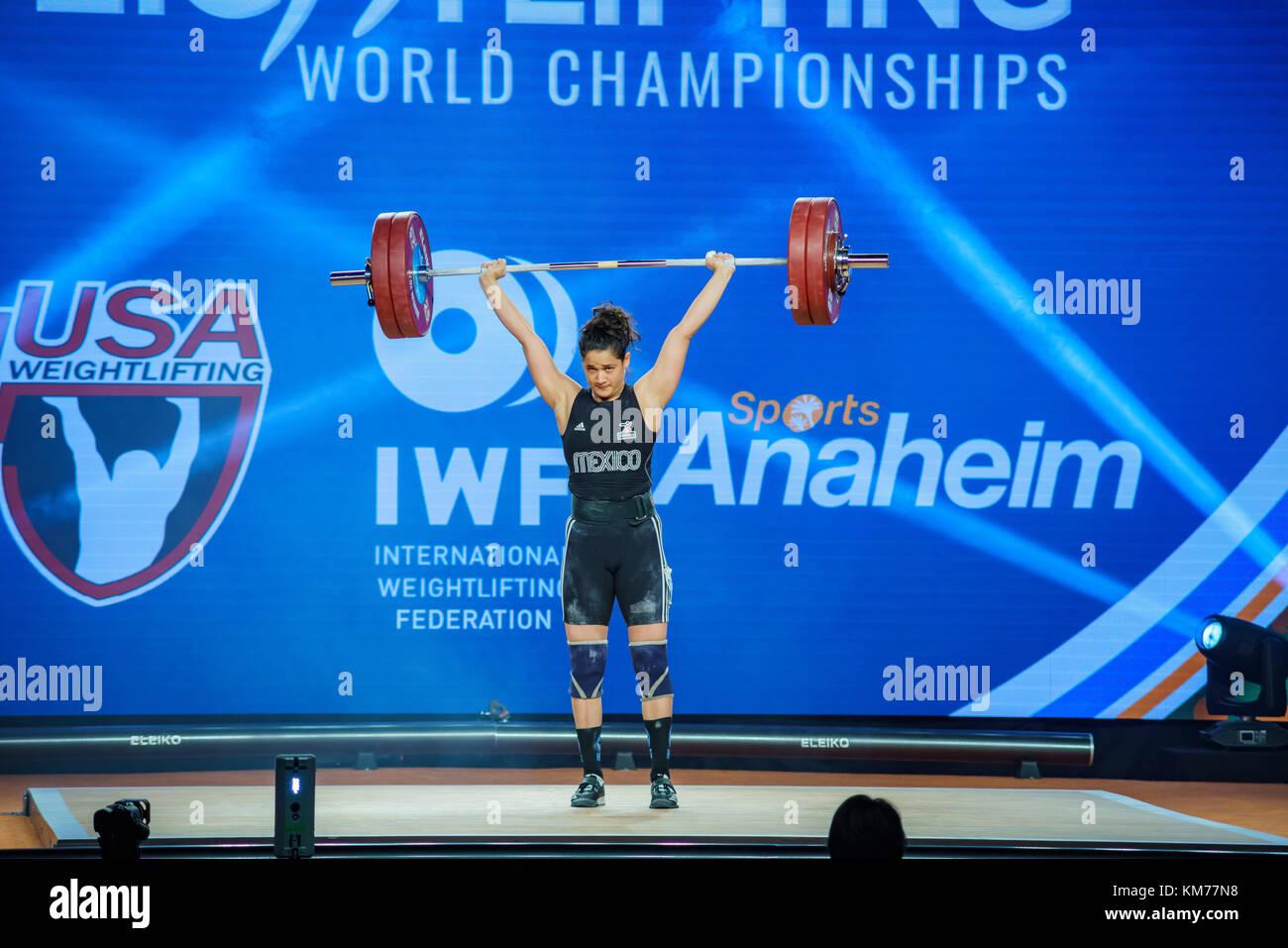 Anaheim, NOV 30: 2017 Torres Wong Anacarmen in International Weightlifting Federation World Championships on NOV - Stock Image