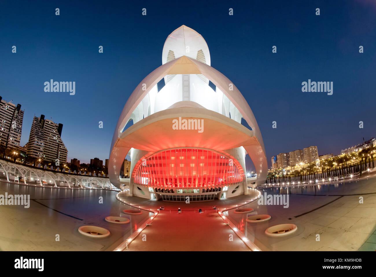 The Palau de les Arts Reina Sofia by Calatrava, , Valencia, Spain - Stock Image