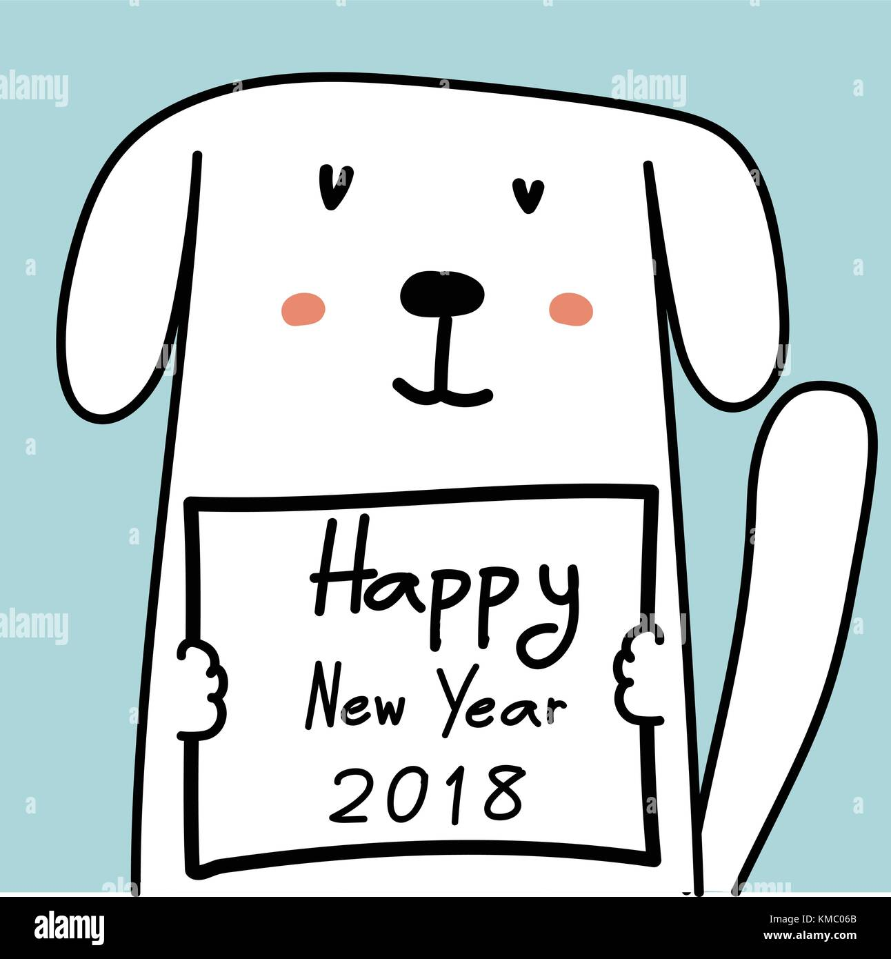 Happy New Year 2018 Card With Cute Dog Stock Vector Art