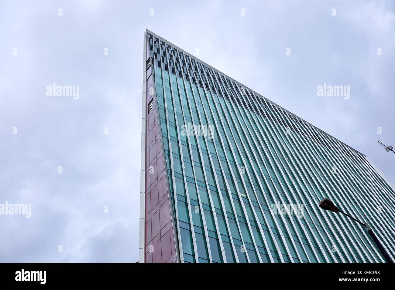 LONDON CITY - DECEMBER 23, 2016: The top of the tallest point of the modern skyscraper Nova Victoria made of glass - Stock Image