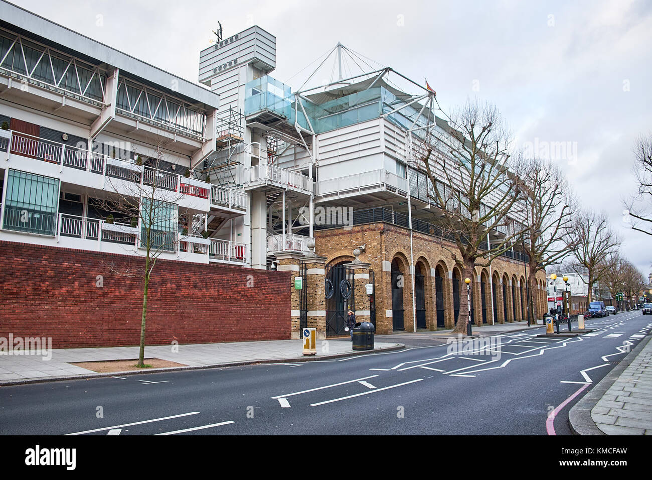 LONDON CITY - DECEMBER 25, 2016: The facade of Lord's Cricket Ground with an empty street on Christmas Day - Stock Image