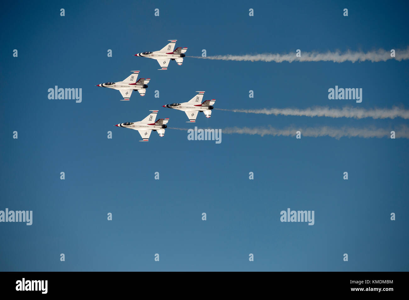 USAF Thunderbirds flying in the 'diamond opener' formation at the Gowen Thunder Airshow on October 14 2017 - Stock Image