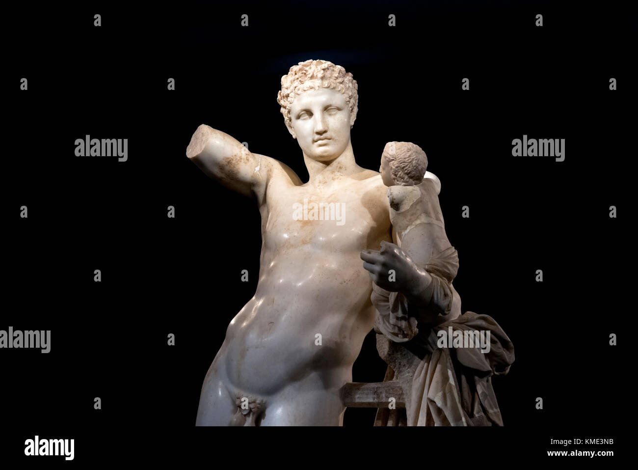 Detail of the sculpture of Hermes of Praxiteles (Hermes and the Infant Dionysus), Archaeological Museum of Olympia, - Stock Image