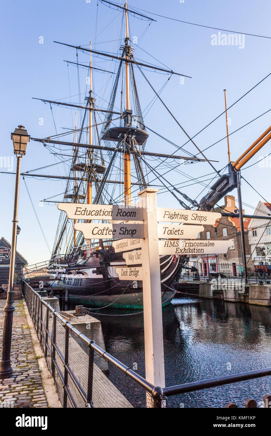HMS Trincomalee at The National Museum of the Royal Navy, Hartlepool UK - Stock Image