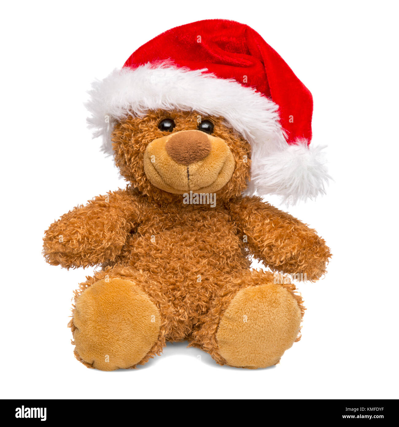 35cd9bfc64441 Christmas teddy bear wearing a Santa Claus hat isolated on white  background