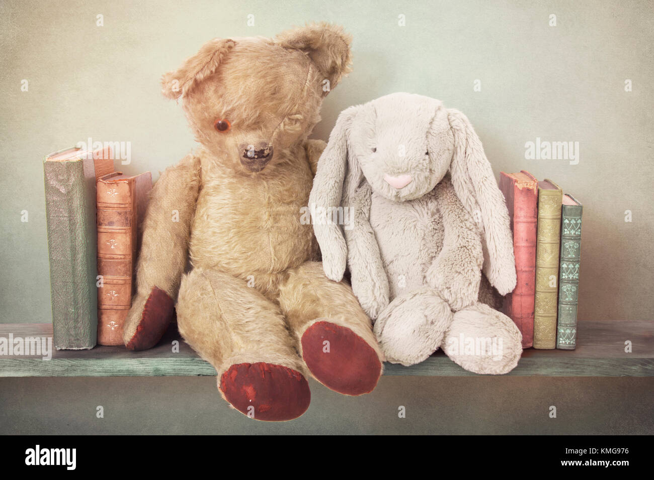 nostalgic toys on a bookshelf - Stock Image