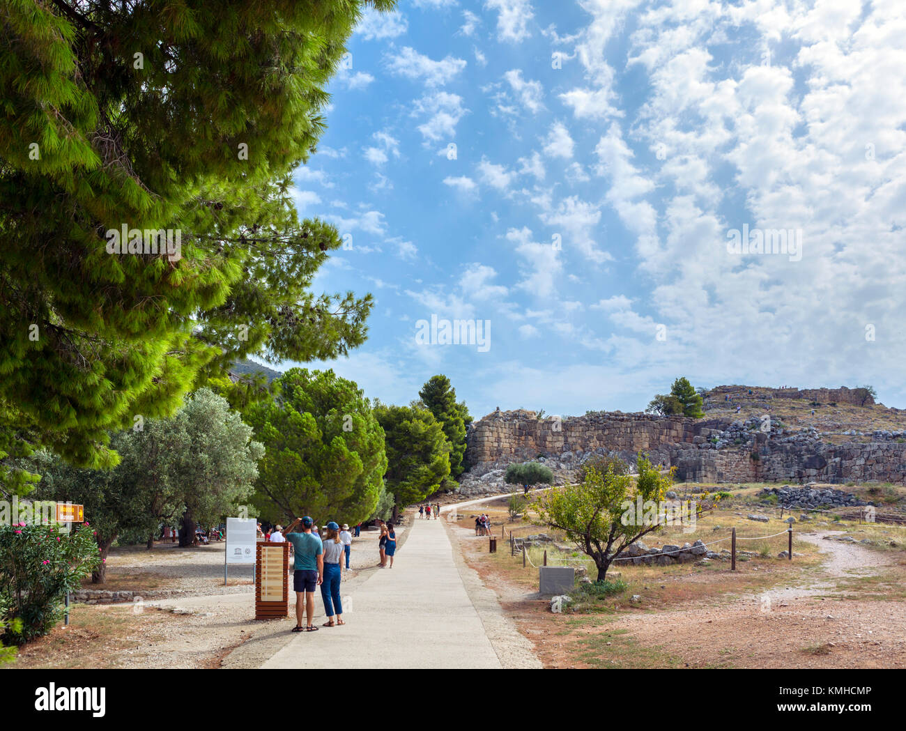 Entrance to the archaeological site at Mycenae, Mikines, Peloponnese, Greece - Stock Image