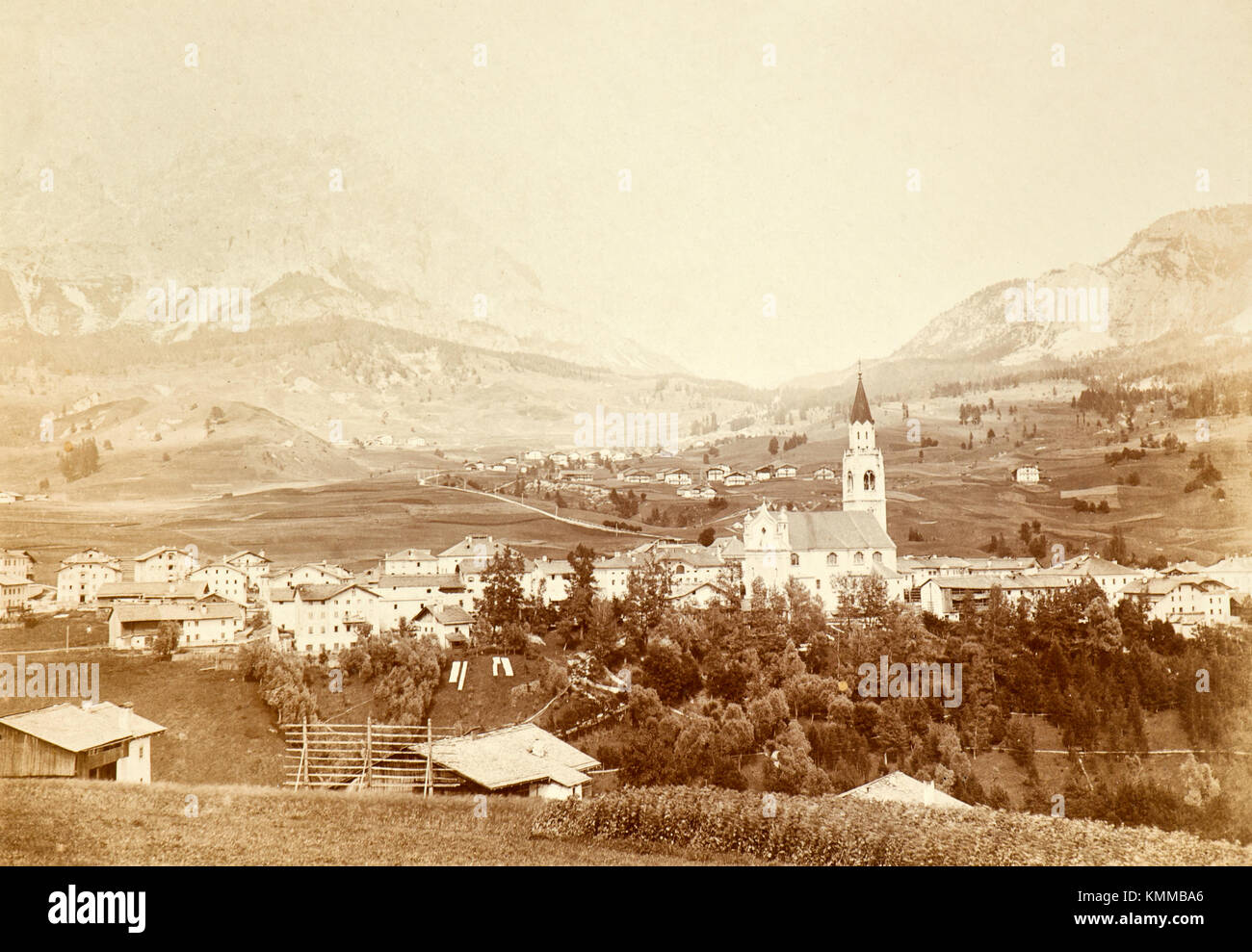 A view of Cortina d'Ampezzo during the first half of twenties (Italy) - Stock Image