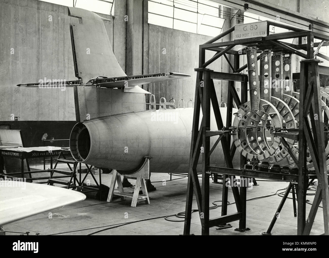 Assembling the fuselage of FIAT G.80 airplane, Italy 1950s - Stock Image