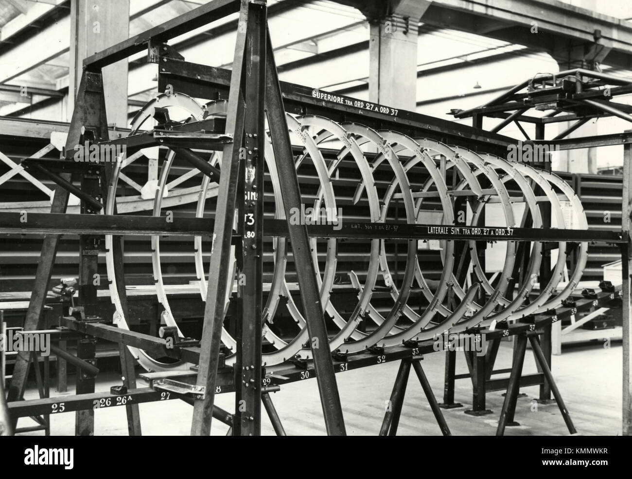 Building the fuselage of the aircraft FIAT G.80, Italy 1950s - Stock Image