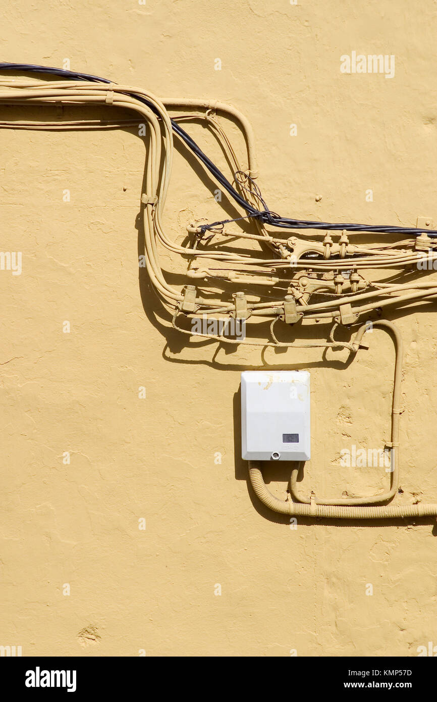 electrical wiring on outside wall stock photo 167673505 alamyelectrical wiring on outside wall