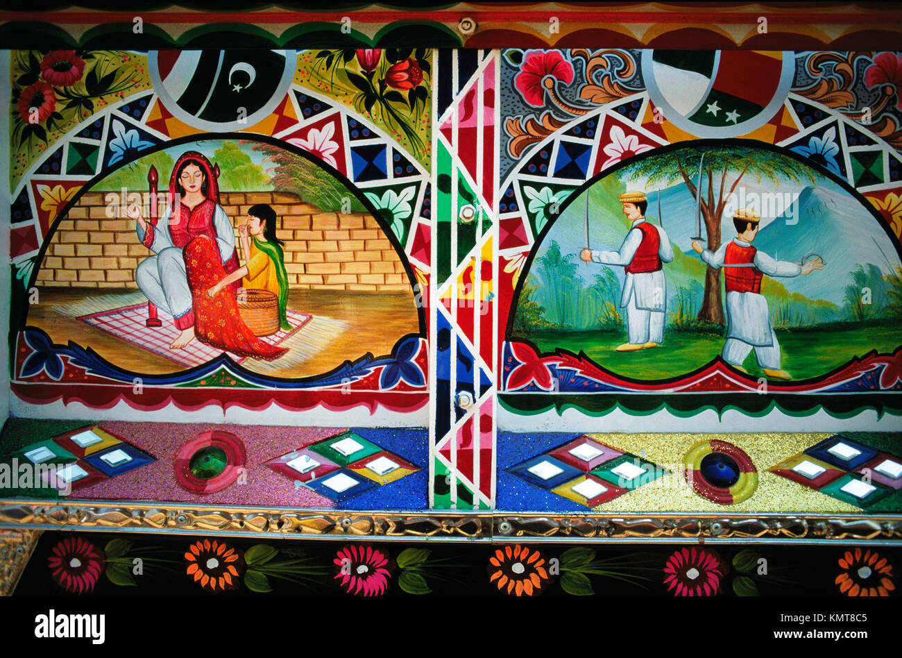 Detail of colourful bus from Pakistan about folk life. Smithsonian Institution. Washington D.C. USA - Stock Image
