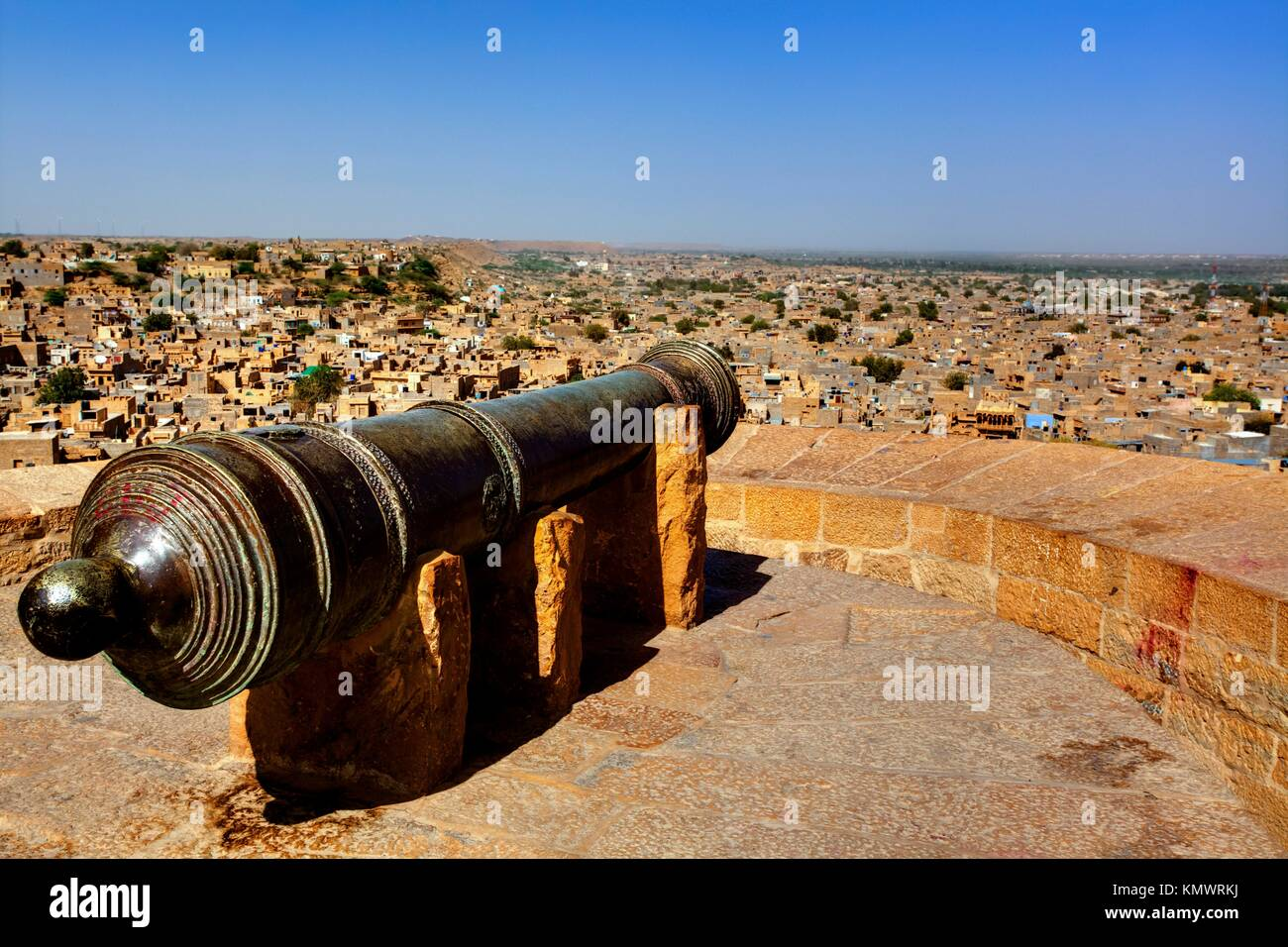 cannon protecting jaisalmer in rajasthan state in india - Stock Image