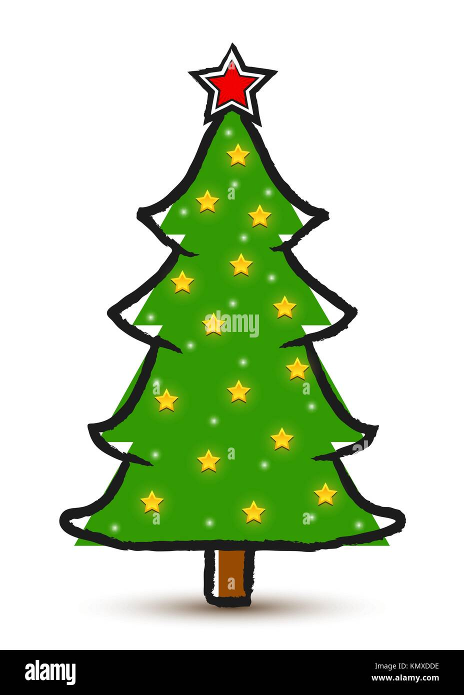 Vector Drawing Abstract Decorated Christmas Tree Isolated On White