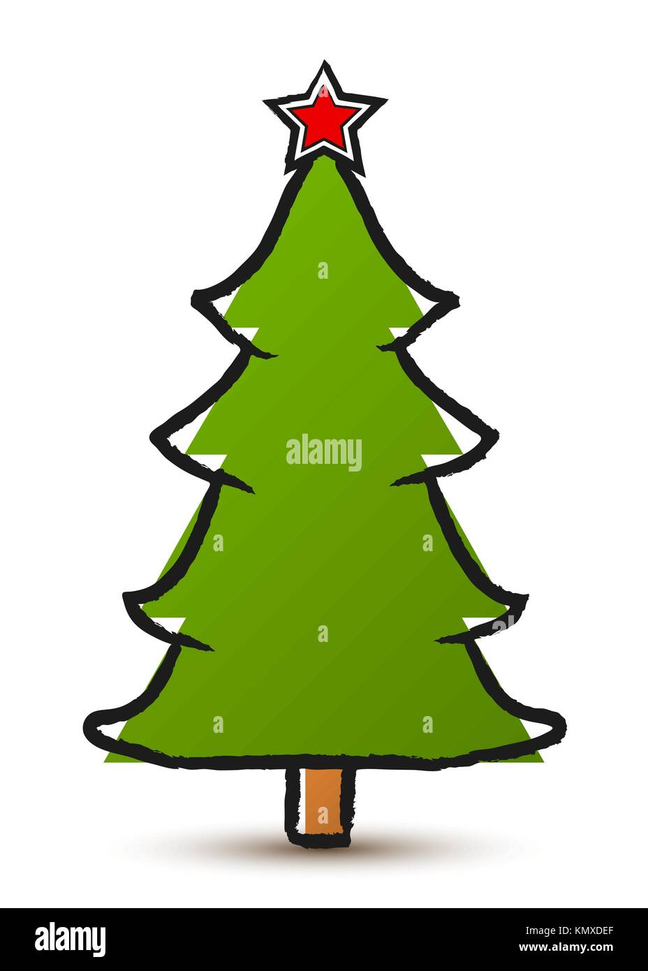 Vector Drawing Abstract Christmas Tree With A Star Isolated On White